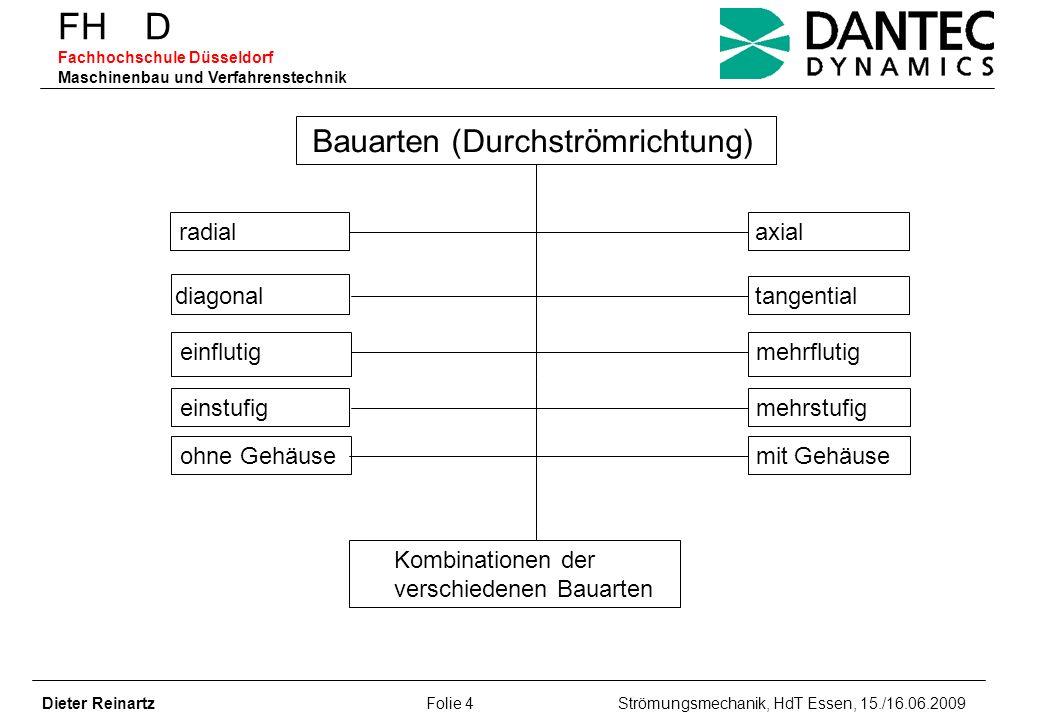 FH D Fachhochschule Düsseldorf Maschinenbau und Verfahrenstechnik Dieter Reinartz Folie 4 Strömungsmechanik, HdT Essen, 15./16.06.2009 Bauarten (Durch