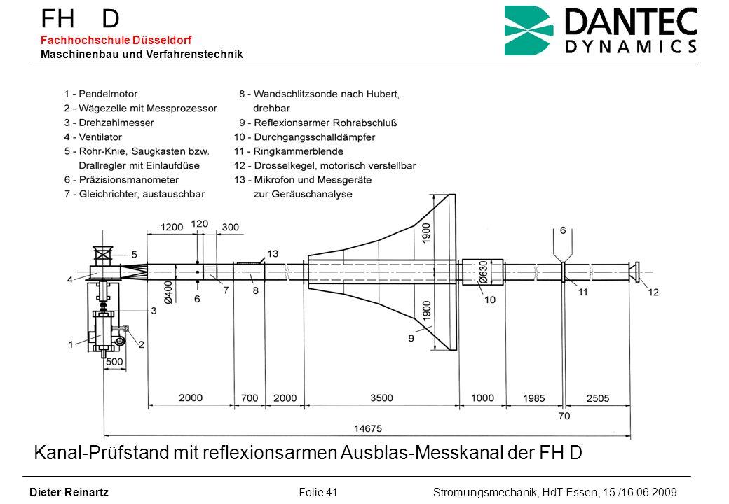 FH D Fachhochschule Düsseldorf Maschinenbau und Verfahrenstechnik Dieter Reinartz Folie 41 Strömungsmechanik, HdT Essen, 15./16.06.2009 Kanal-Prüfstan