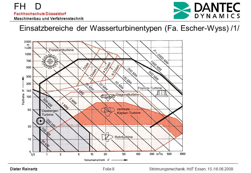 FH D Fachhochschule Düsseldorf Maschinenbau und Verfahrenstechnik Dieter Reinartz Folie 8 Strömungsmechanik, HdT Essen, 15./16.06.2009 Einsatzbereiche