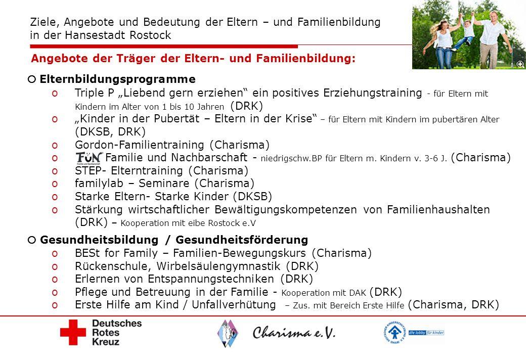 Elternbildungsprogramme oTriple P Liebend gern erziehen ein positives Erziehungstraining - für Eltern mit Kindern im Alter von 1 bis 10 Jahren (DRK) o