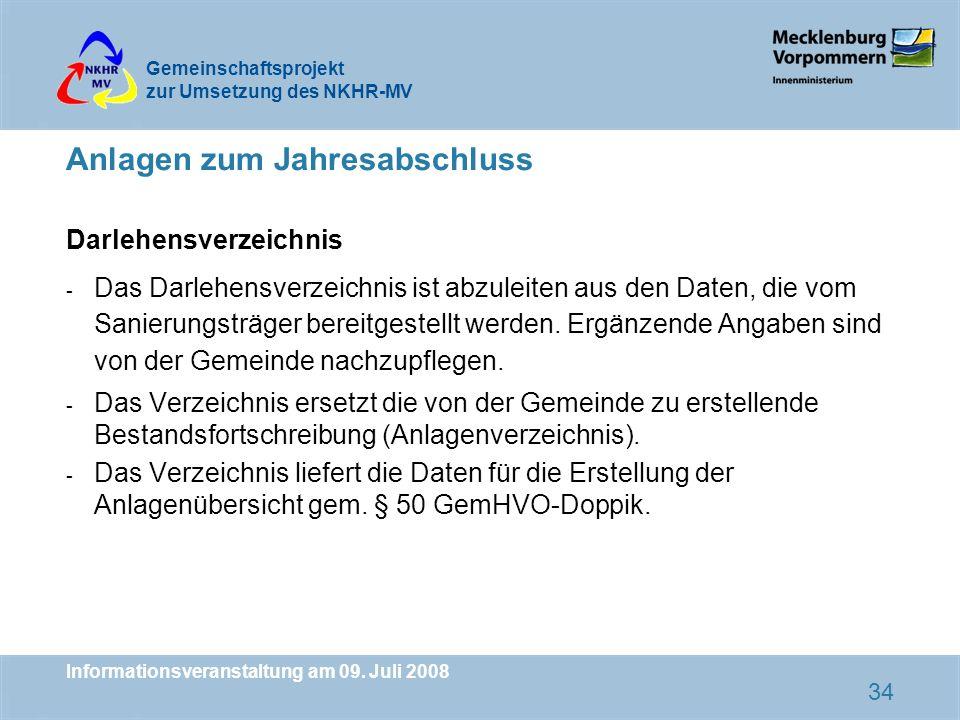 Gemeinschaftsprojekt zur Umsetzung des NKHR-MV Informationsveranstaltung am 09. Juli 2008 34 Anlagen zum Jahresabschluss Darlehensverzeichnis - Das Da
