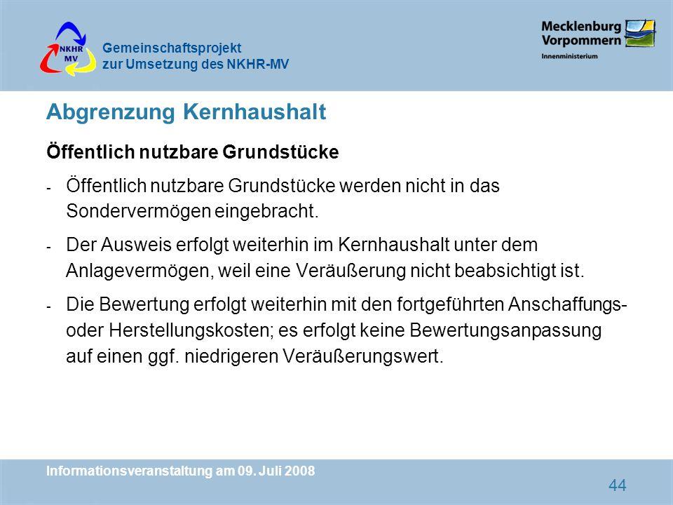 Gemeinschaftsprojekt zur Umsetzung des NKHR-MV Informationsveranstaltung am 09. Juli 2008 44 Abgrenzung Kernhaushalt Öffentlich nutzbare Grundstücke -