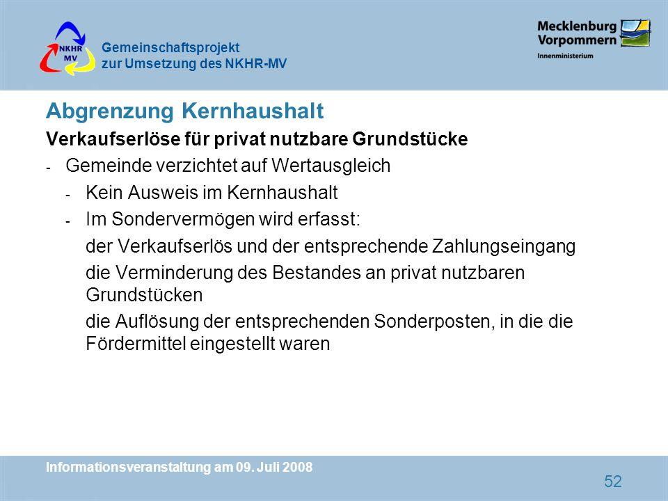 Gemeinschaftsprojekt zur Umsetzung des NKHR-MV Informationsveranstaltung am 09. Juli 2008 52 Abgrenzung Kernhaushalt Verkaufserlöse für privat nutzbar