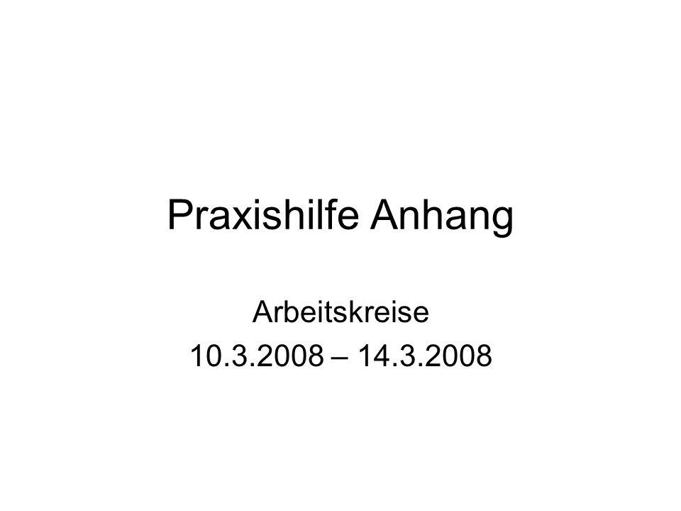Praxishilfe Anhang Arbeitskreise 10.3.2008 – 14.3.2008