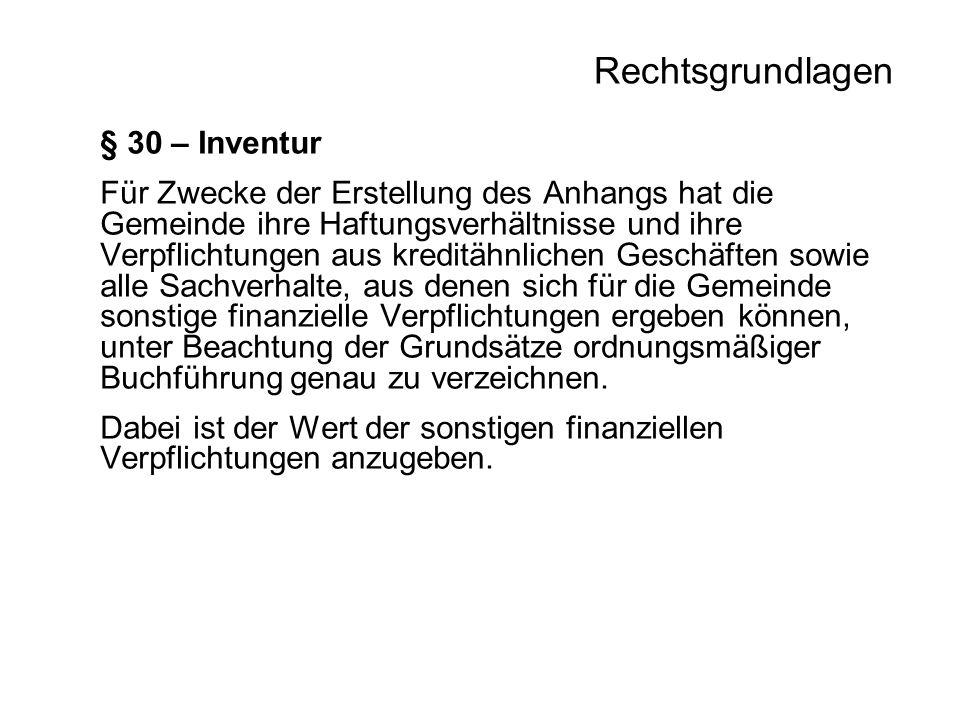 Rechtsgrundlagen § 30 – Inventur Für Zwecke der Erstellung des Anhangs hat die Gemeinde ihre Haftungsverhältnisse und ihre Verpflichtungen aus kreditä