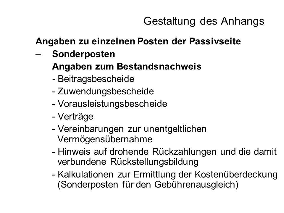 Gestaltung des Anhangs Angaben zu einzelnen Posten der Passivseite –Sonderposten Angaben zum Bestandsnachweis - Beitragsbescheide - Zuwendungsbescheid
