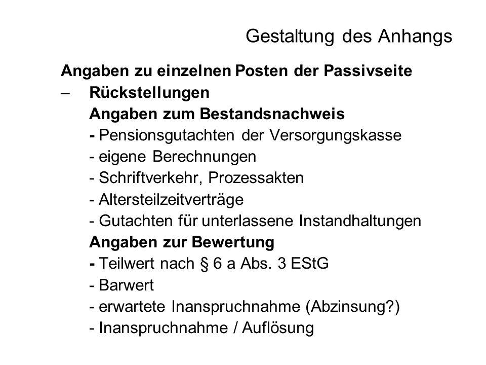 Gestaltung des Anhangs Angaben zu einzelnen Posten der Passivseite –Rückstellungen Angaben zum Bestandsnachweis - Pensionsgutachten der Versorgungskas