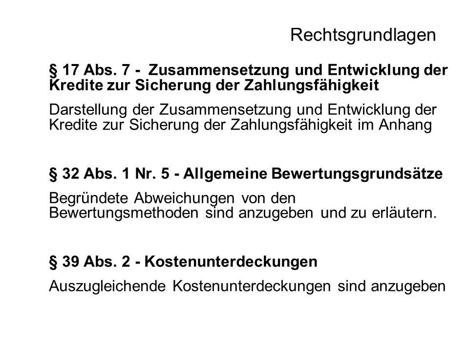 Rechtsgrundlagen § 17 Abs. 7 - Zusammensetzung und Entwicklung der Kredite zur Sicherung der Zahlungsfähigkeit Darstellung der Zusammensetzung und Ent