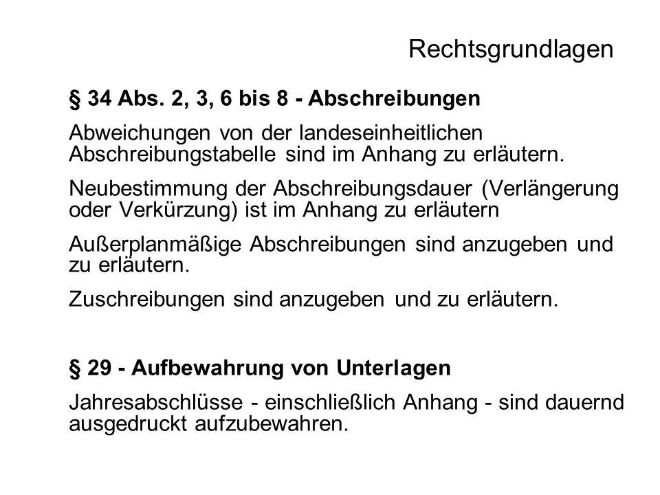 Rechtsgrundlagen § 34 Abs. 2, 3, 6 bis 8 - Abschreibungen Abweichungen von der landeseinheitlichen Abschreibungstabelle sind im Anhang zu erläutern. N