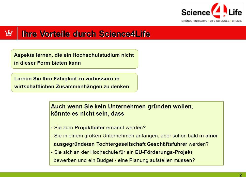 12 Eine erfolgreiche Bilanz Science4Life Venture Cup in Zahlen (seit 1998) 2800 Teilnehmer 873 Geschäftsideen.