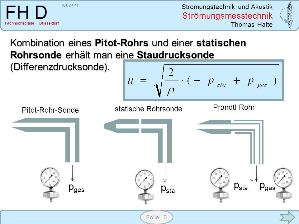 WS 06/07 Strömungstechnik und Akustik Strömungsmesstechnik Thomas Haite FH D Fachhochschule Düsseldorf Folie 10 Kombination eines Pitot-Rohrs und eine