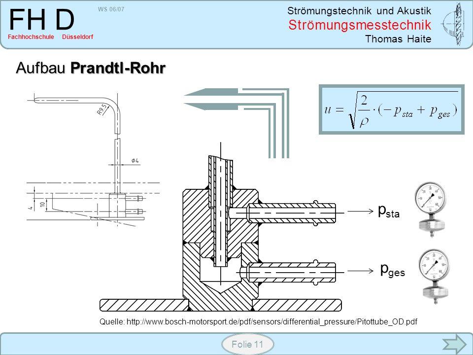 WS 06/07 Strömungstechnik und Akustik Strömungsmesstechnik Thomas Haite FH D Fachhochschule Düsseldorf Folie 11 Aufbau Prandtl-Rohr p ges p sta Quelle