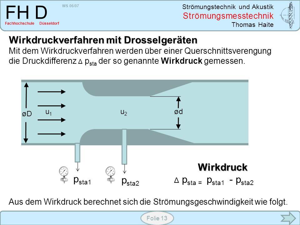 WS 06/07 Strömungstechnik und Akustik Strömungsmesstechnik Thomas Haite FH D Fachhochschule Düsseldorf Folie 13 Wirkdruckverfahren mit Drosselgeräten