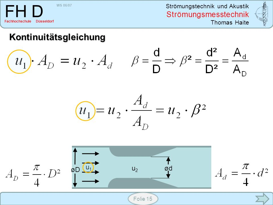WS 06/07 Strömungstechnik und Akustik Strömungsmesstechnik Thomas Haite FH D Fachhochschule Düsseldorf Folie 15 øD ød u1u1 u2u2 Kontinuitätsgleichung