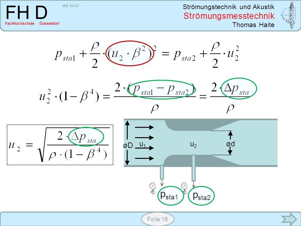 WS 06/07 Strömungstechnik und Akustik Strömungsmesstechnik Thomas Haite FH D Fachhochschule Düsseldorf Folie 16 øD ødu1u1 u2u2 p sta1 p sta2