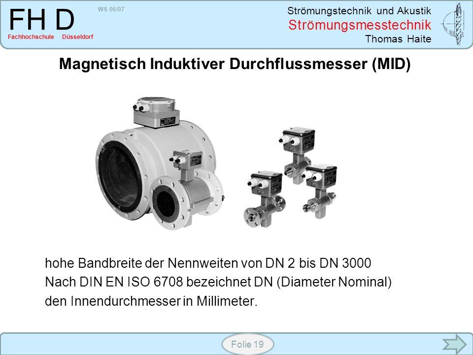 WS 06/07 Strömungstechnik und Akustik Strömungsmesstechnik Thomas Haite FH D Fachhochschule Düsseldorf Folie 19 Magnetisch Induktiver Durchflussmesser
