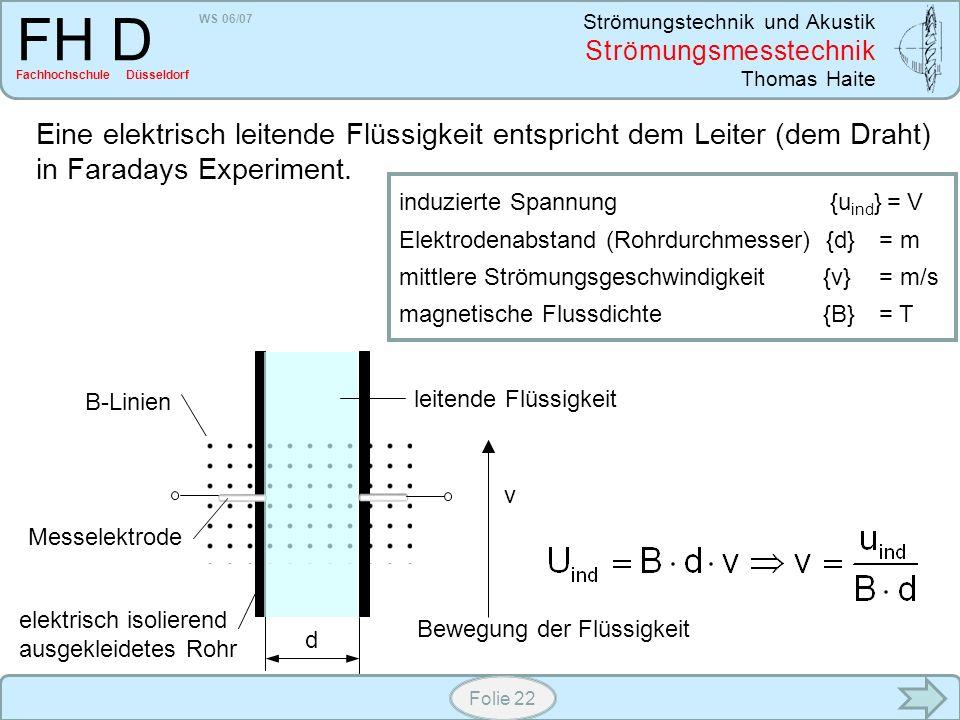 WS 06/07 Strömungstechnik und Akustik Strömungsmesstechnik Thomas Haite FH D Fachhochschule Düsseldorf Folie 22 Eine elektrisch leitende Flüssigkeit e