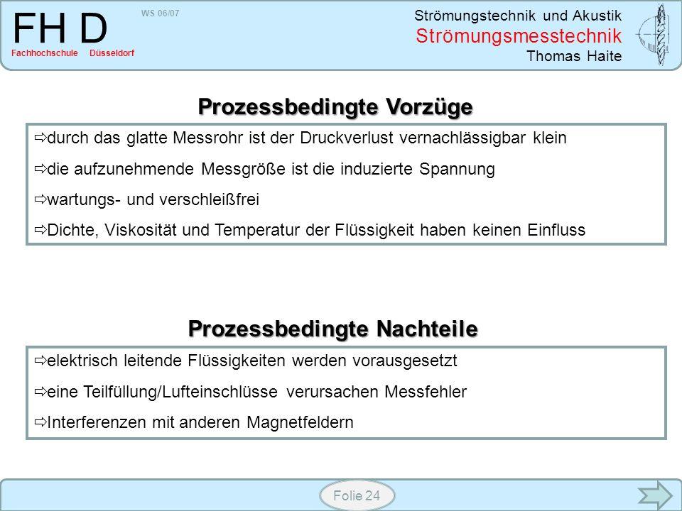 WS 06/07 Strömungstechnik und Akustik Strömungsmesstechnik Thomas Haite FH D Fachhochschule Düsseldorf Folie 24 durch das glatte Messrohr ist der Druc