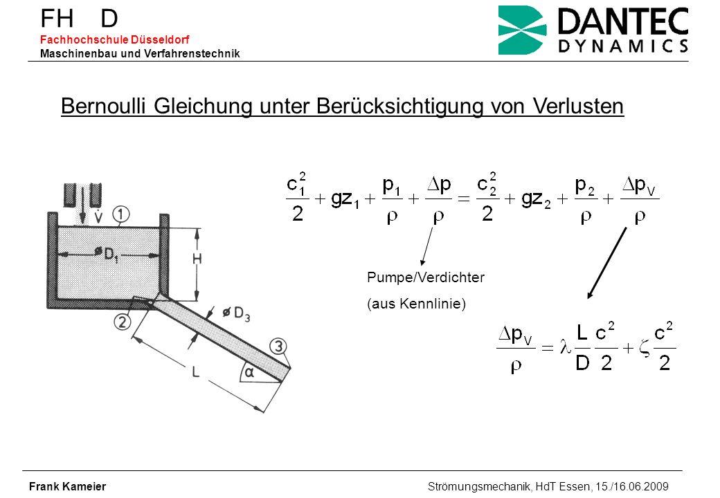 FH D Fachhochschule Düsseldorf Maschinenbau und Verfahrenstechnik Frank Kameier Strömungsmechanik, HdT Essen, 15./16.06.2009 Bernoulli Gleichung unter