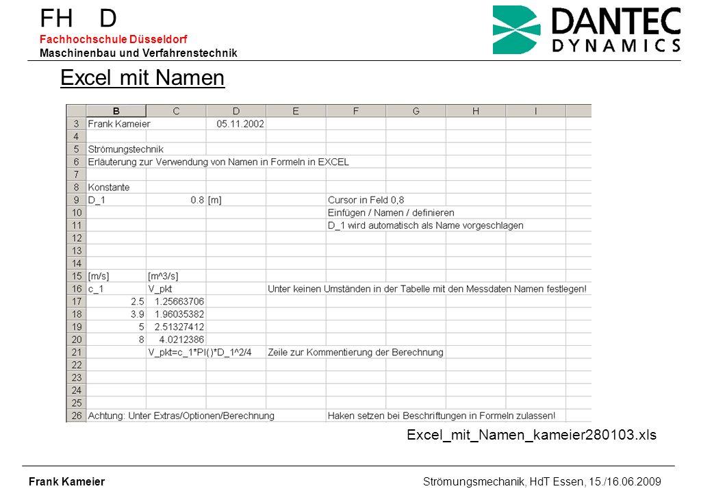 FH D Fachhochschule Düsseldorf Maschinenbau und Verfahrenstechnik Frank Kameier Strömungsmechanik, HdT Essen, 15./16.06.2009 Excel_mit_Namen_kameier28