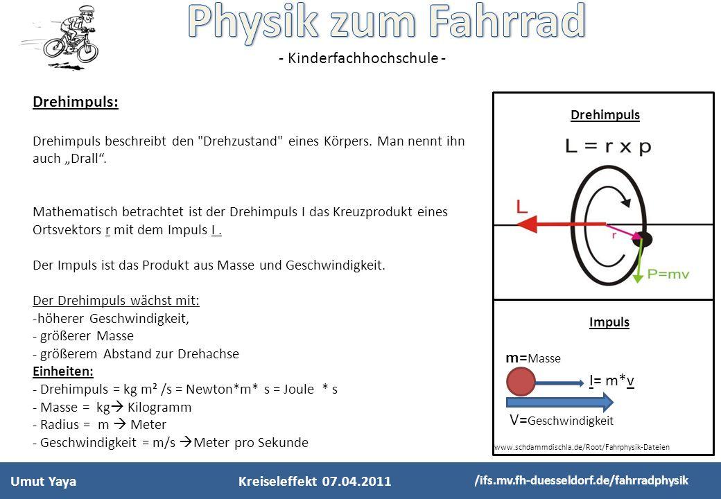 - Kinderfachhochschule - Umut Yaya http://ifs.mv.fh-duesseldorf.de/fahrradphysik Drehimpuls: Drehimpuls beschreibt den