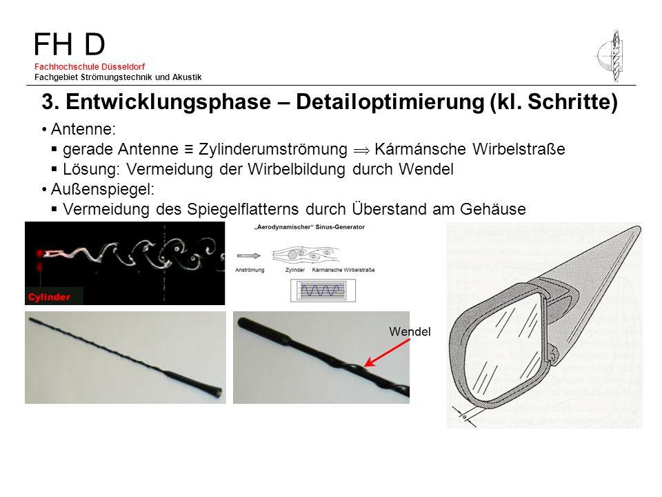 FH D Fachhochschule Düsseldorf Fachgebiet Strömungstechnik und Akustik Antenne: gerade Antenne Zylinderumströmung Kármánsche Wirbelstraße Lösung: Verm