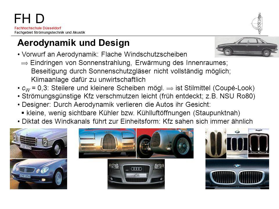 FH D Fachhochschule Düsseldorf Fachgebiet Strömungstechnik und Akustik Vorwurf an Aerodynamik: Flache Windschutzscheiben Eindringen von Sonnenstrahlun