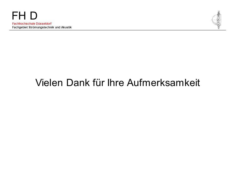 FH D Fachhochschule Düsseldorf Fachgebiet Strömungstechnik und Akustik Vielen Dank für Ihre Aufmerksamkeit