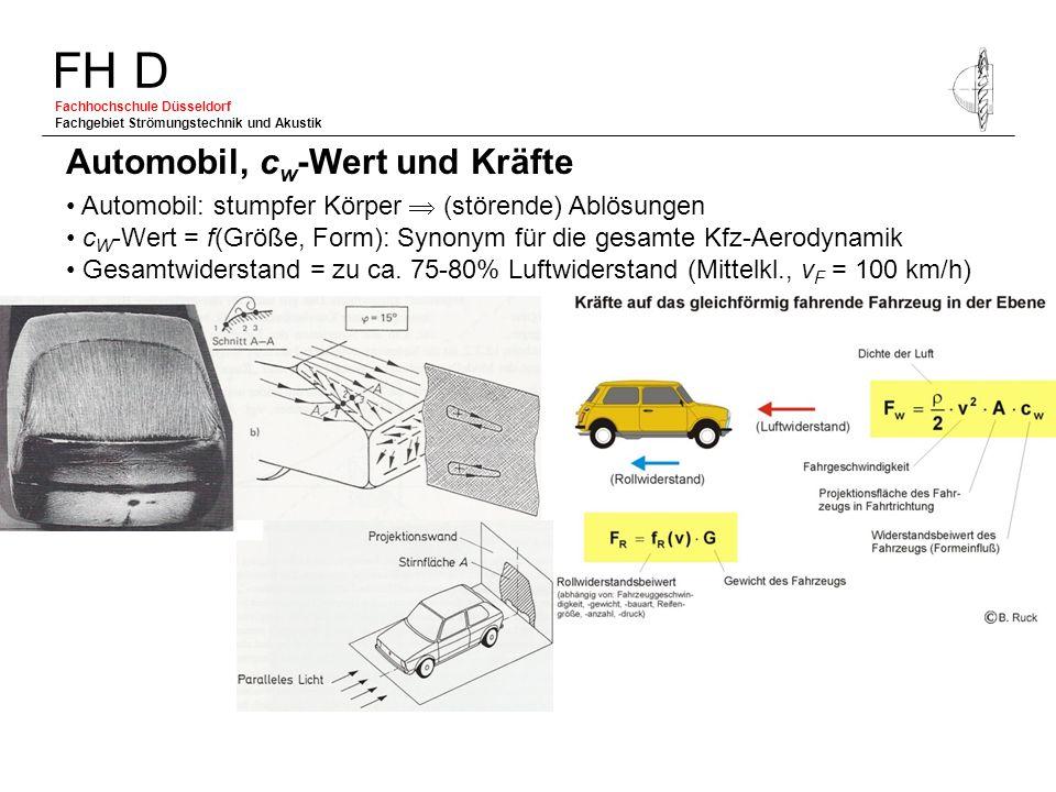 FH D Fachhochschule Düsseldorf Fachgebiet Strömungstechnik und Akustik Automobil: stumpfer Körper (störende) Ablösungen c W -Wert = f(Größe, Form): Sy