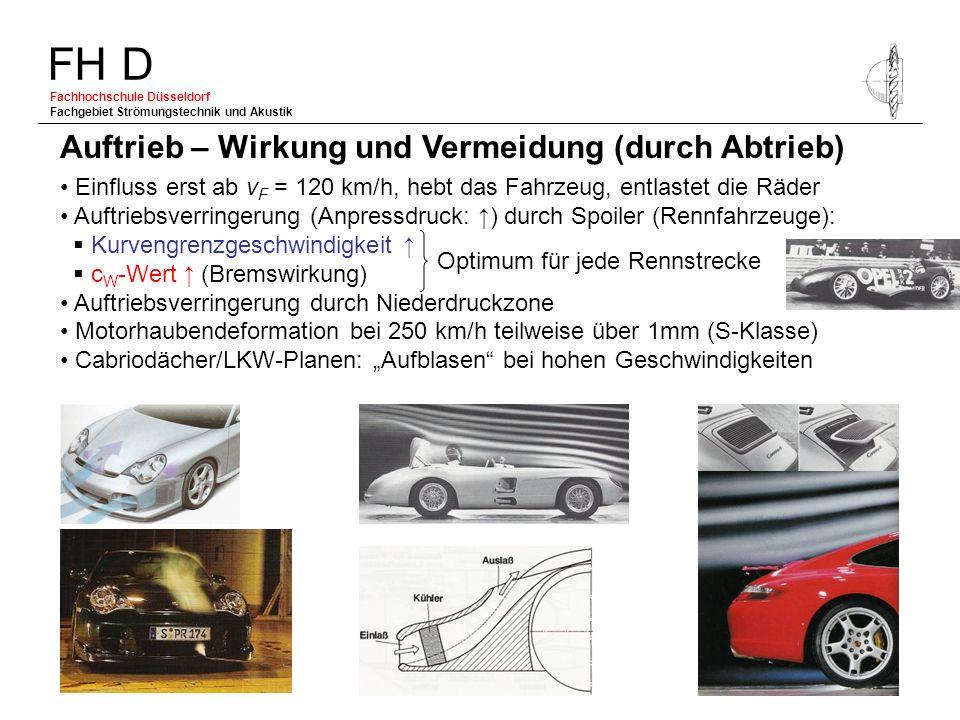 FH D Fachhochschule Düsseldorf Fachgebiet Strömungstechnik und Akustik Einfluss erst ab v F = 120 km/h, hebt das Fahrzeug, entlastet die Räder Auftrie