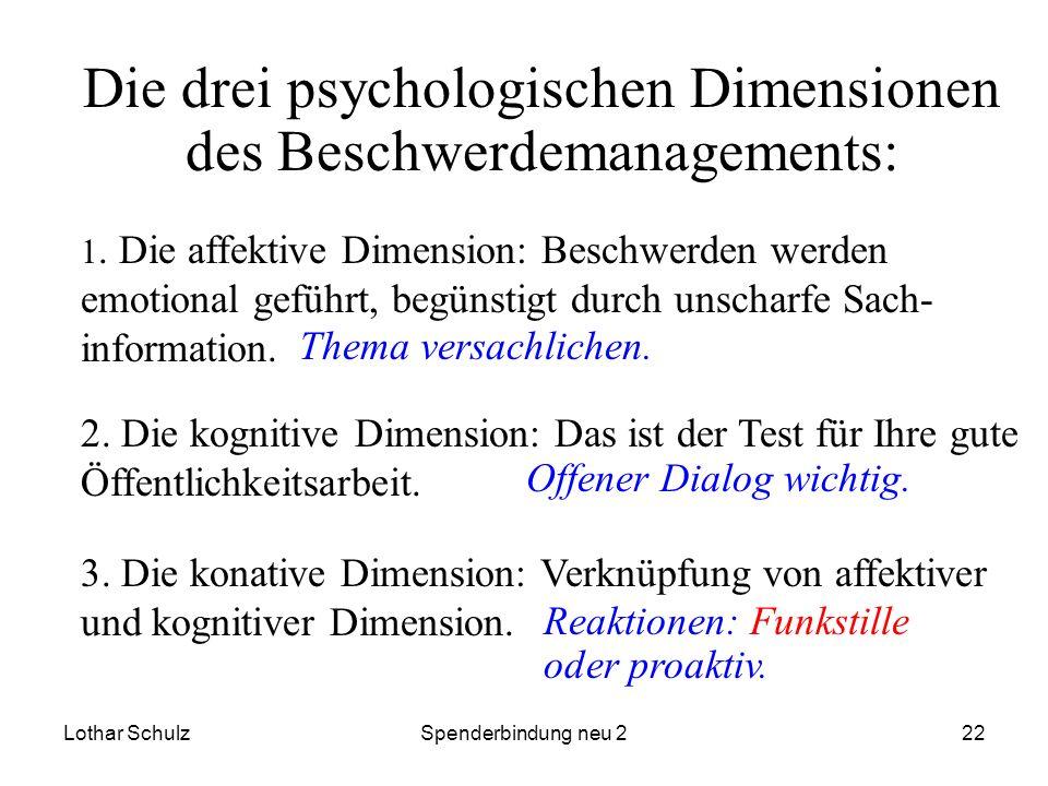 Lothar SchulzSpenderbindung neu 222 Die drei psychologischen Dimensionen des Beschwerdemanagements: 1. Die affektive Dimension: Beschwerden werden emo