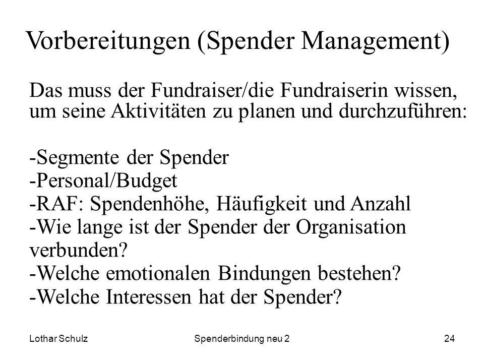 Lothar SchulzSpenderbindung neu 224 Vorbereitungen (Spender Management) Das muss der Fundraiser/die Fundraiserin wissen, um seine Aktivitäten zu plane