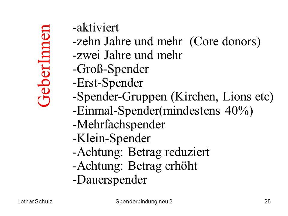 Lothar SchulzSpenderbindung neu 225 -aktiviert -zehn Jahre und mehr (Core donors) -zwei Jahre und mehr -Groß-Spender -Erst-Spender -Spender-Gruppen (K