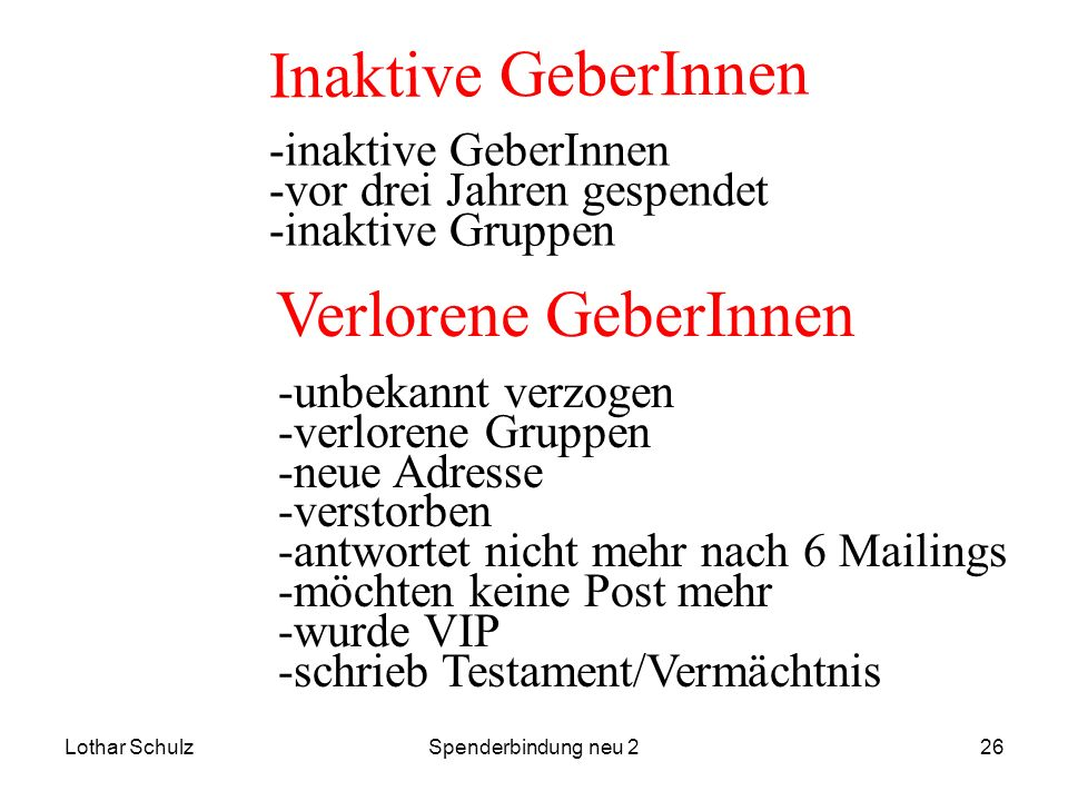 Lothar SchulzSpenderbindung neu 226 Inaktive GeberInnen -inaktive GeberInnen -vor drei Jahren gespendet -inaktive Gruppen Verlorene GeberInnen -unbeka