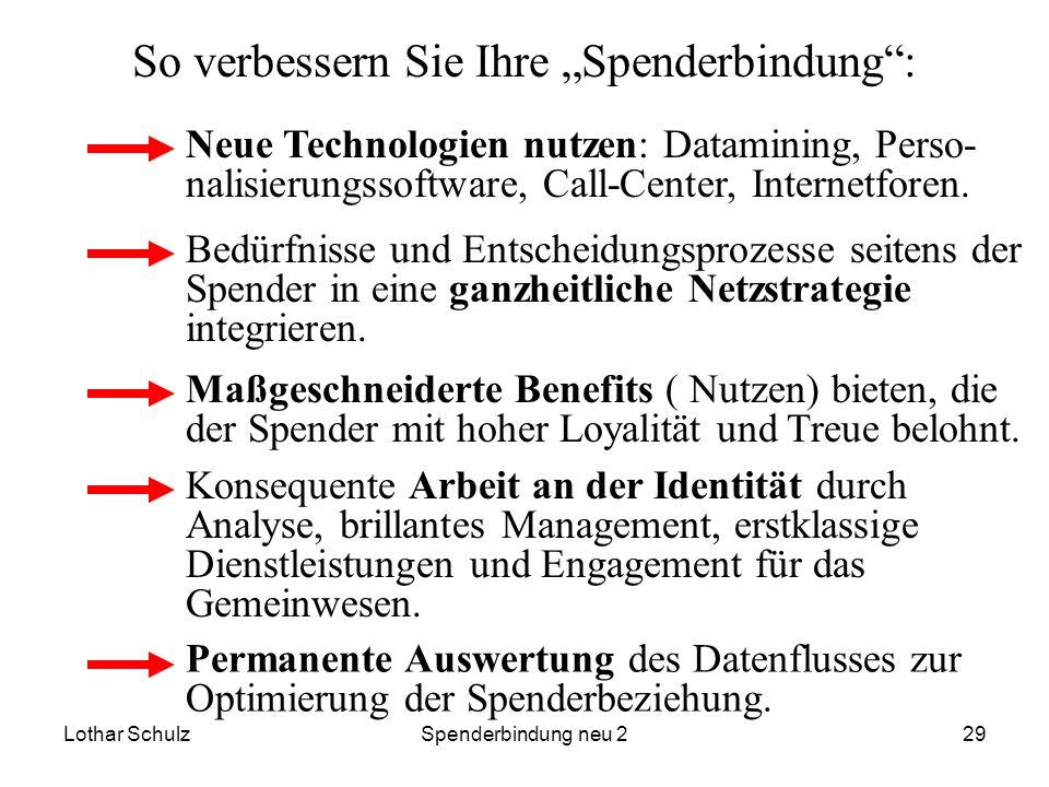 Lothar SchulzSpenderbindung neu 229 So verbessern Sie Ihre Spenderbindung: Neue Technologien nutzen: Datamining, Perso- nalisierungssoftware, Call-Cen