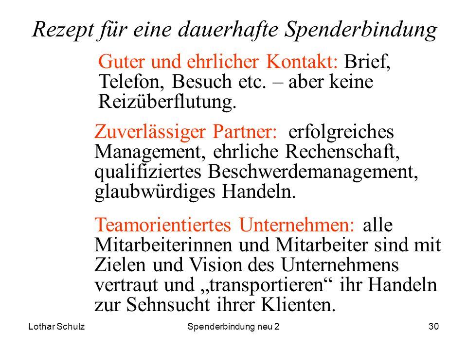 Lothar SchulzSpenderbindung neu 230 Rezept für eine dauerhafte Spenderbindung Guter und ehrlicher Kontakt: Brief, Telefon, Besuch etc. – aber keine Re