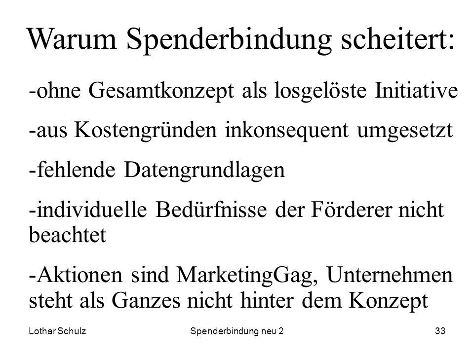 Lothar SchulzSpenderbindung neu 233 Warum Spenderbindung scheitert: -ohne Gesamtkonzept als losgelöste Initiative -aus Kostengründen inkonsequent umge