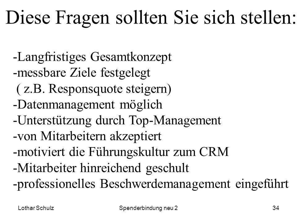Lothar SchulzSpenderbindung neu 234 -Langfristiges Gesamtkonzept -messbare Ziele festgelegt ( z.B. Responsquote steigern) -Datenmanagement möglich -Un