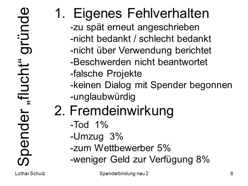 Lothar SchulzSpenderbindung neu 26 1. Eigenes Fehlverhalten -zu spät erneut angeschrieben -nicht bedankt / schlecht bedankt -nicht über Verwendung ber