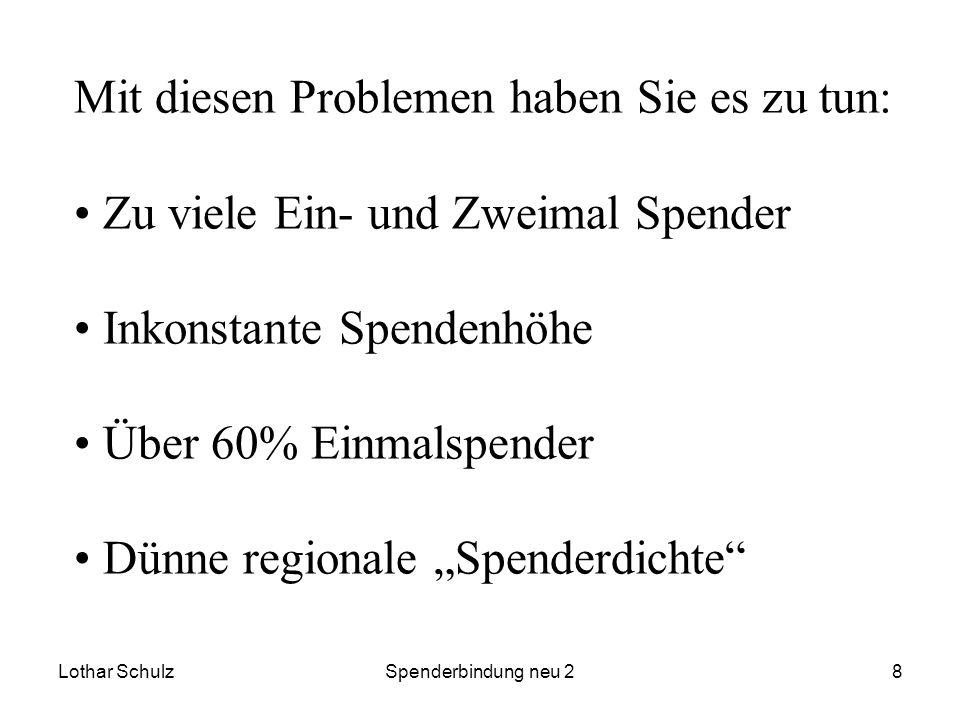 Lothar SchulzSpenderbindung neu 28 Mit diesen Problemen haben Sie es zu tun: Zu viele Ein- und Zweimal Spender Inkonstante Spendenhöhe Über 60% Einmal