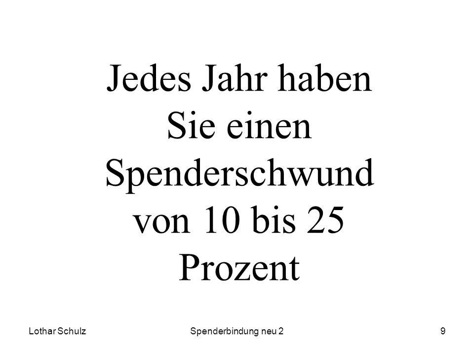 Lothar SchulzSpenderbindung neu 29 Jedes Jahr haben Sie einen Spenderschwund von 10 bis 25 Prozent
