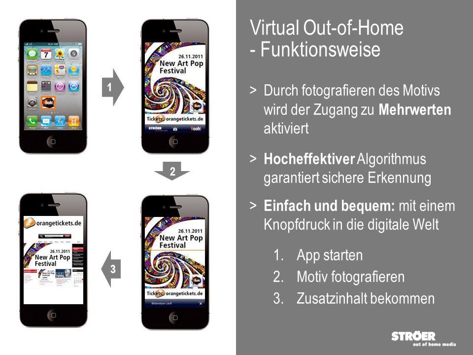 Virtual Out-of-Home - Funktionsweise >Durch fotografieren des Motivs wird der Zugang zu Mehrwerten aktiviert > Hocheffektiver Algorithmus garantiert s