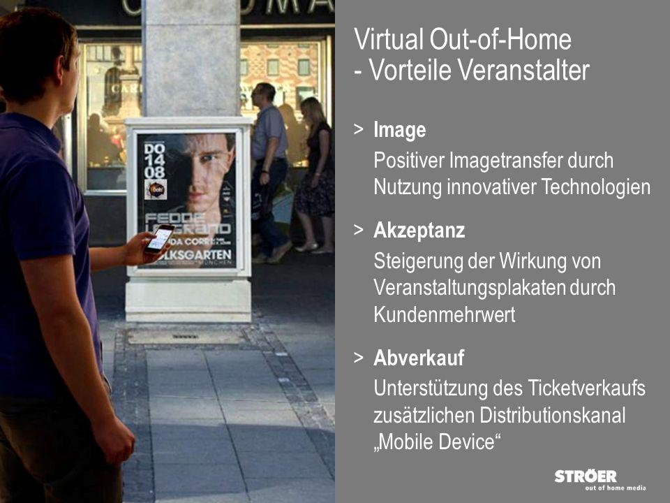 Virtual Out-of-Home - Vorteile Veranstalter > Image Positiver Imagetransfer durch Nutzung innovativer Technologien > Akzeptanz Steigerung der Wirkung