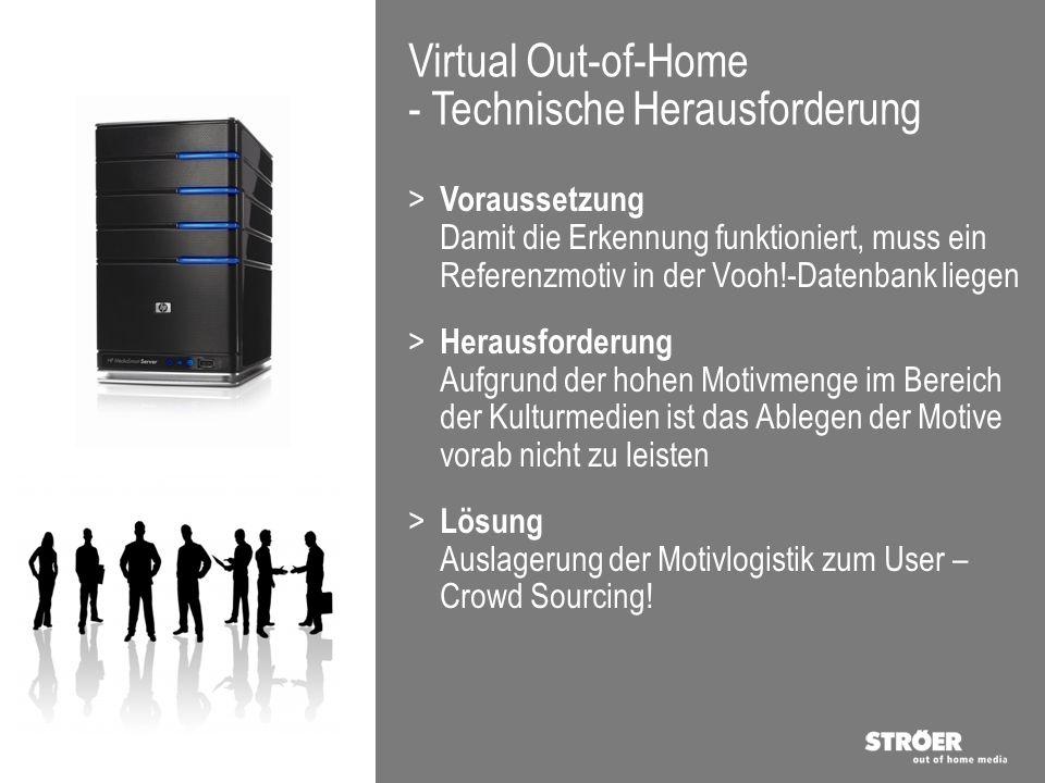 Virtual Out-of-Home - Technische Herausforderung > Voraussetzung Damit die Erkennung funktioniert, muss ein Referenzmotiv in der Vooh!-Datenbank liege