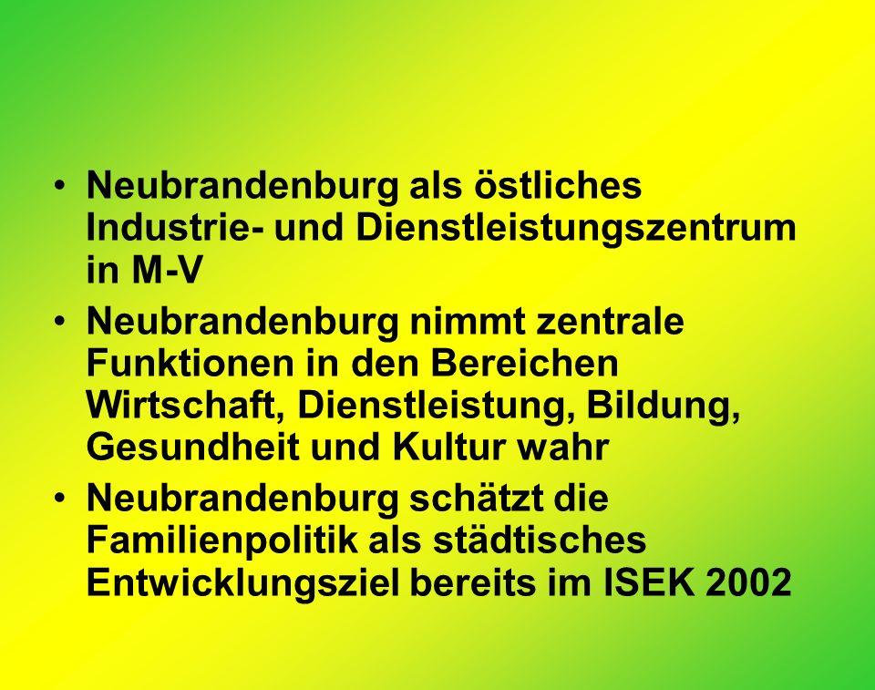 Neubrandenburg als östliches Industrie- und Dienstleistungszentrum in M-V Neubrandenburg nimmt zentrale Funktionen in den Bereichen Wirtschaft, Dienstleistung, Bildung, Gesundheit und Kultur wahr Neubrandenburg schätzt die Familienpolitik als städtisches Entwicklungsziel bereits im ISEK 2002