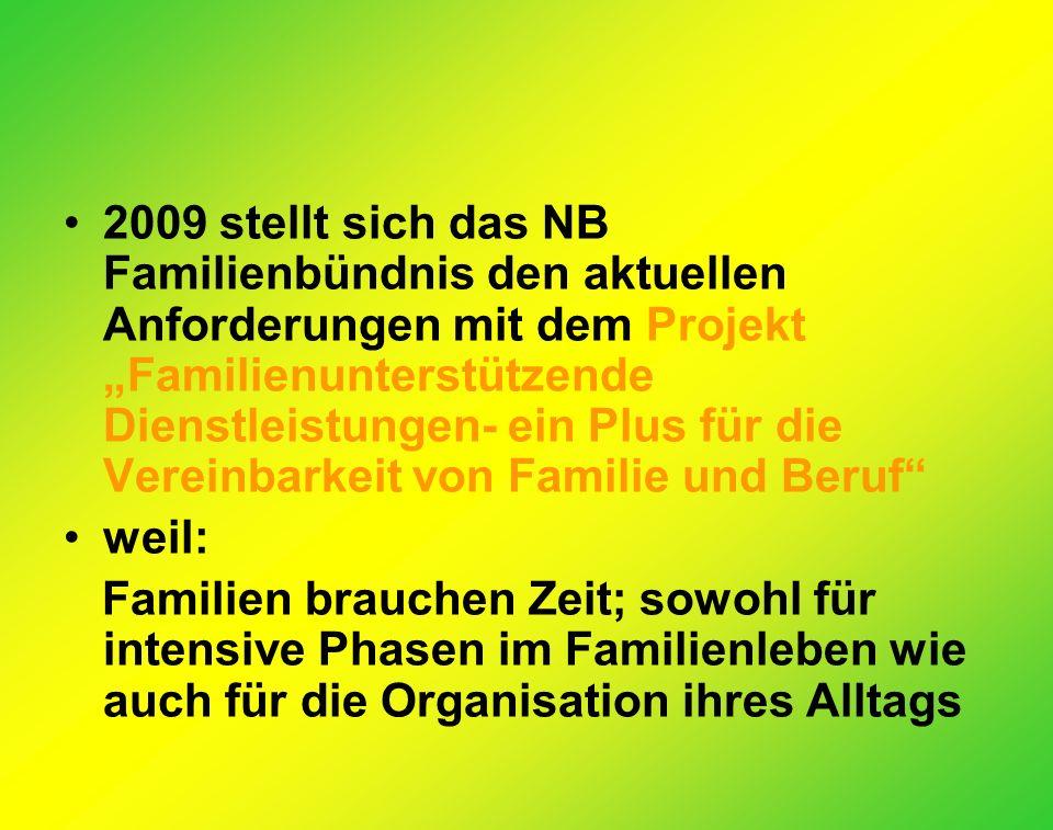 2009 stellt sich das NB Familienbündnis den aktuellen Anforderungen mit dem Projekt Familienunterstützende Dienstleistungen- ein Plus für die Vereinbarkeit von Familie und Beruf weil: Familien brauchen Zeit; sowohl für intensive Phasen im Familienleben wie auch für die Organisation ihres Alltags