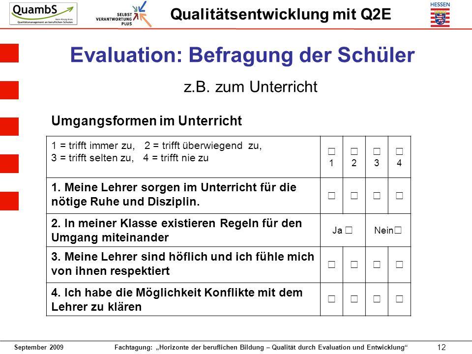 September 2009 Fachtagung: Horizonte der beruflichen Bildung – Qualität durch Evaluation und Entwicklung 12 Qualitätsentwicklung mit Q2E Umgangsformen im Unterricht 1 = trifft immer zu, 2 = trifft überwiegend zu, 3 = trifft selten zu, 4 = trifft nie zu 1 2 3 4 1.