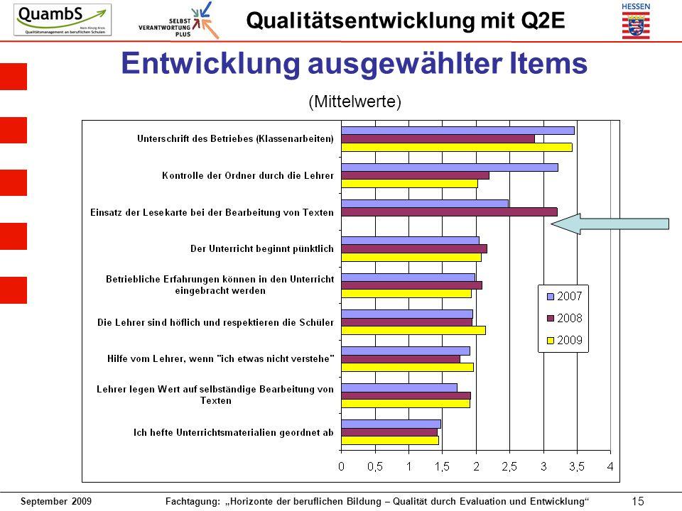 September 2009 Fachtagung: Horizonte der beruflichen Bildung – Qualität durch Evaluation und Entwicklung 15 Qualitätsentwicklung mit Q2E Entwicklung ausgewählter Items (Mittelwerte)
