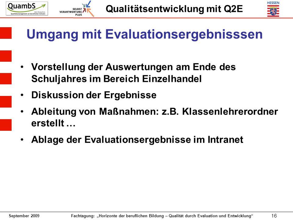 September 2009 Fachtagung: Horizonte der beruflichen Bildung – Qualität durch Evaluation und Entwicklung 16 Qualitätsentwicklung mit Q2E Umgang mit Ev
