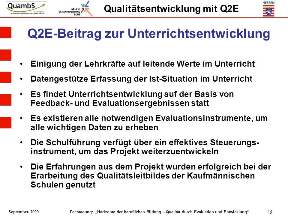September 2009 Fachtagung: Horizonte der beruflichen Bildung – Qualität durch Evaluation und Entwicklung 18 Qualitätsentwicklung mit Q2E Q2E-Beitrag z